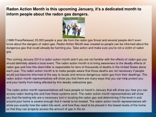 Radon Action Month is this upcoming January