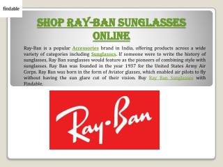 Rayban India Sunglasses at Findable