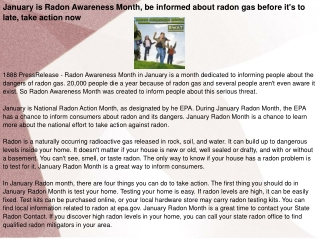 January is Radon Awareness Month,