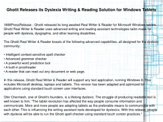 Ghotit Releases its Dyslexia Writing