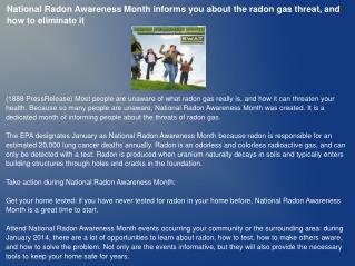 National Radon Awareness Month informs you about the radon