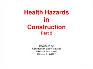 Health Hazards in Construction Part 2