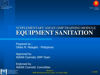 SUPPLEMENTARY ASEAN GMP TRAINING MODULE EQUIPMENT SANITATION