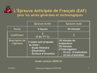 L  preuve Anticip e de Fran ais EAF pour les s ries g n rales et technologiques