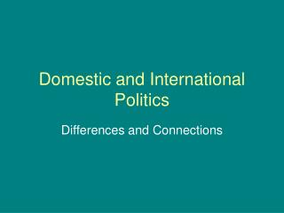 Lecture Two: International and domestic politics