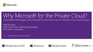 Why Microsoft for the Private Cloud Competitive Advantages of the Microsoft Private Cloud over the VMware vCloud technol