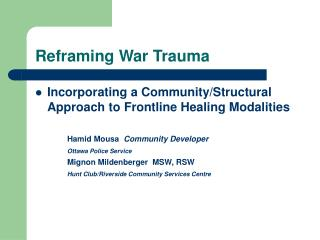 Reframing War Trauma