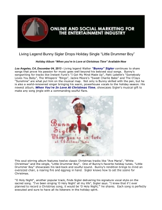 Living Legend Bunny Sigler Drops Holiday Single