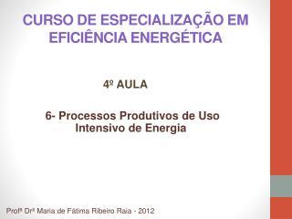 CURSO DE ESPECIALIZA  O EM EFICI NCIA ENERG TICA