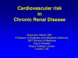 Cardiovascular risk  in  Chronic Renal Disease