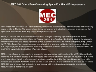 MEC 261 Offers Free Coworking Space For Miami Entrepreneurs