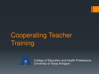 Cooperating Teacher Training