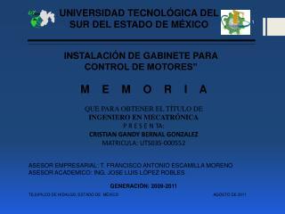 UNIVERSIDAD TECNOL GICA DEL SUR DEL ESTADO DE M XICO