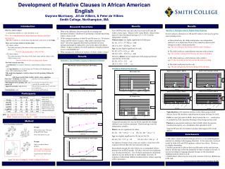 Development of Relative Clauses in African American  English Gwynne Morrissey,  Jill de Villiers,  Peter de Villiers Smi