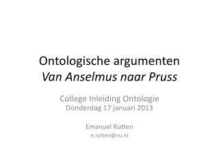 Ontologische argumenten Van Anselmus naar Pruss