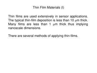 thin film materials i