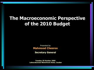 the macroeconomic perspective of the 2010 budget