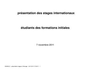 Pr sentation des stages internationaux      tudiants des formations initiales