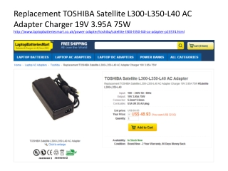 Toshiba Satellite L300,L45,L350 AC adapter