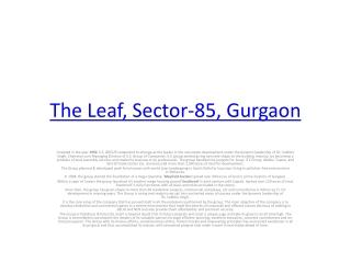 Booking open for The leaf sector 85 gurgaon by aurumestates