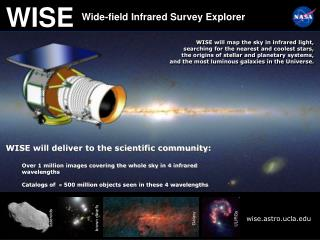WISE will map the sky in infrared light, searching for the nearest and coolest stars,  the origins of stellar and planet