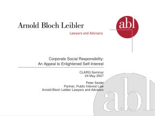 corporate social responsibility:  an appeal to enlightened self-interest