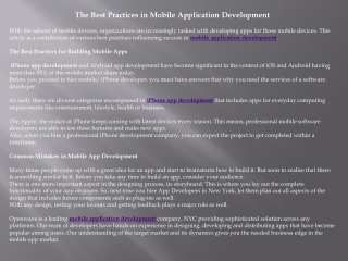 The Best Practices in Mobile Application Development