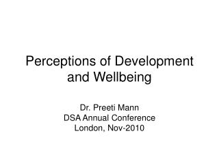 Perceptions of Development and Wellbeing