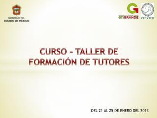 CURSO   TALLER DE FORMACI N DE TUTORES