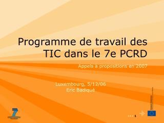 Programme de travail des TIC dans le 7e PCRD
