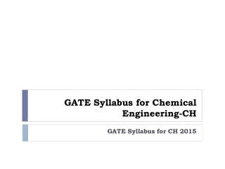 GATE Syllabus for Chemical Engineering-CH