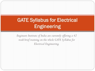 GATE Syllabus for Electrical Engineering