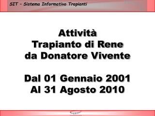 Attivit  Trapianto di Rene da Donatore Vivente  Dal 01 Gennaio 2001 Al 31 Agosto 2010