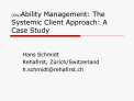disability management: the systemic client approach: a case study