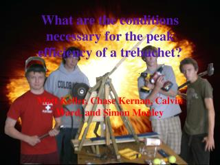 What are the conditions necessary for the peak efficiency of a trebuchet