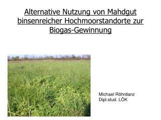 Alternative Nutzung von Mahdgut binsenreicher Hochmoorstandorte zur Biogas-Gewinnung