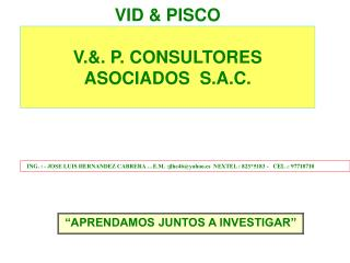 VID  PISCO   V.. P. CONSULTORES ASOCIADOS  S.A.C.