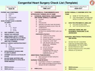 Congenital Heart Surgery Check List Template