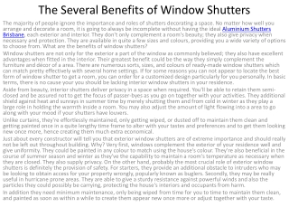 The Several Benefits of Window Shutters