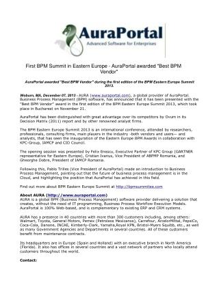 First BPM Summit in Eastern Europe - AuraPortal awarded