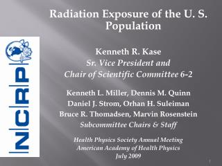 Radiation Exposure of the U. S. Population  Kenneth R. Kase Sr. Vice President and  Chair of Scientific Committee 6-2  K