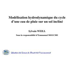 Mod lisation hydrodynamique du cycle d une eau de pluie sur un sol inclin    Sylvain WEILL Sous la responsabilit  d Emma