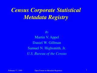 Census Corporate Statistical Metadata Registry