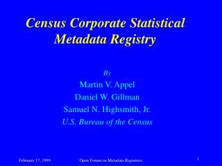 Census Corporate Statistical Metadata Registry