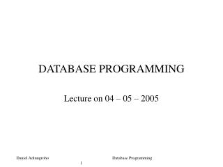 DATABASE PROGRAMMING  Lecture on 04   05   2005