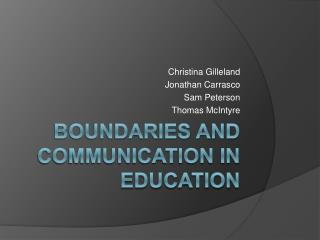 Boundaries and Communication in Education
