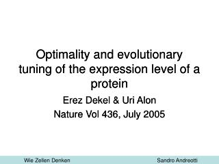 Optimality and evolutionary tuning of the expression level of a protein