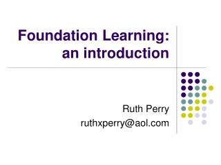 Foundation Learning: an introduction