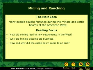 Mining and Ranching