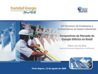23  Encontro de Produtores e Consumidores de Gases Industriais  Perspectivas de Mercado de Energia El trica no Brasil  E